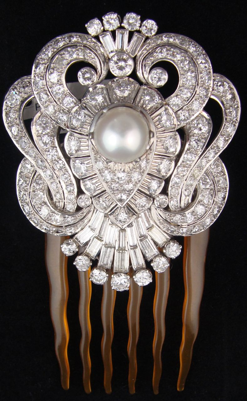 Antique French Art Deco White Diamond And Pearl Hair Pin