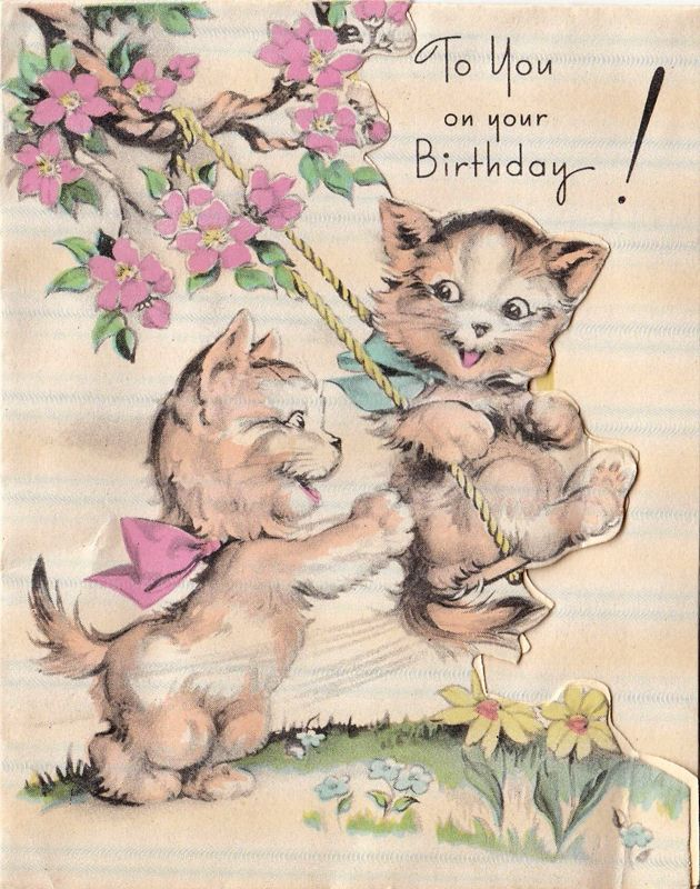 1930s Vintage Birthday Card Cats Swing Cat Birthday Card