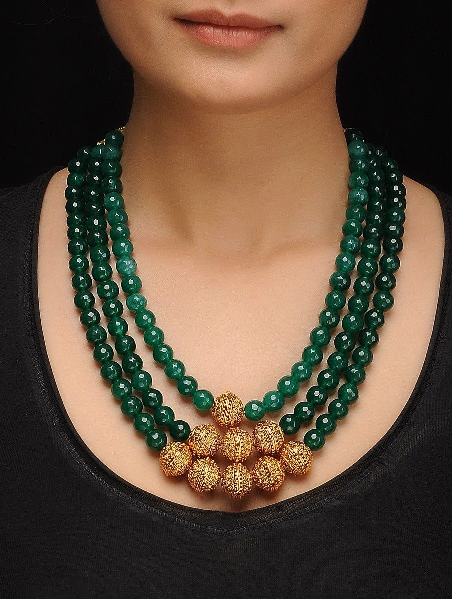 Green Gold Tone Jade Necklace is part of Jewelry design necklace, Beaded jewelry necklaces, Fashion jewelry necklaces, Jewelry necklace pendant, Black beaded jewelry, Necklace online -
