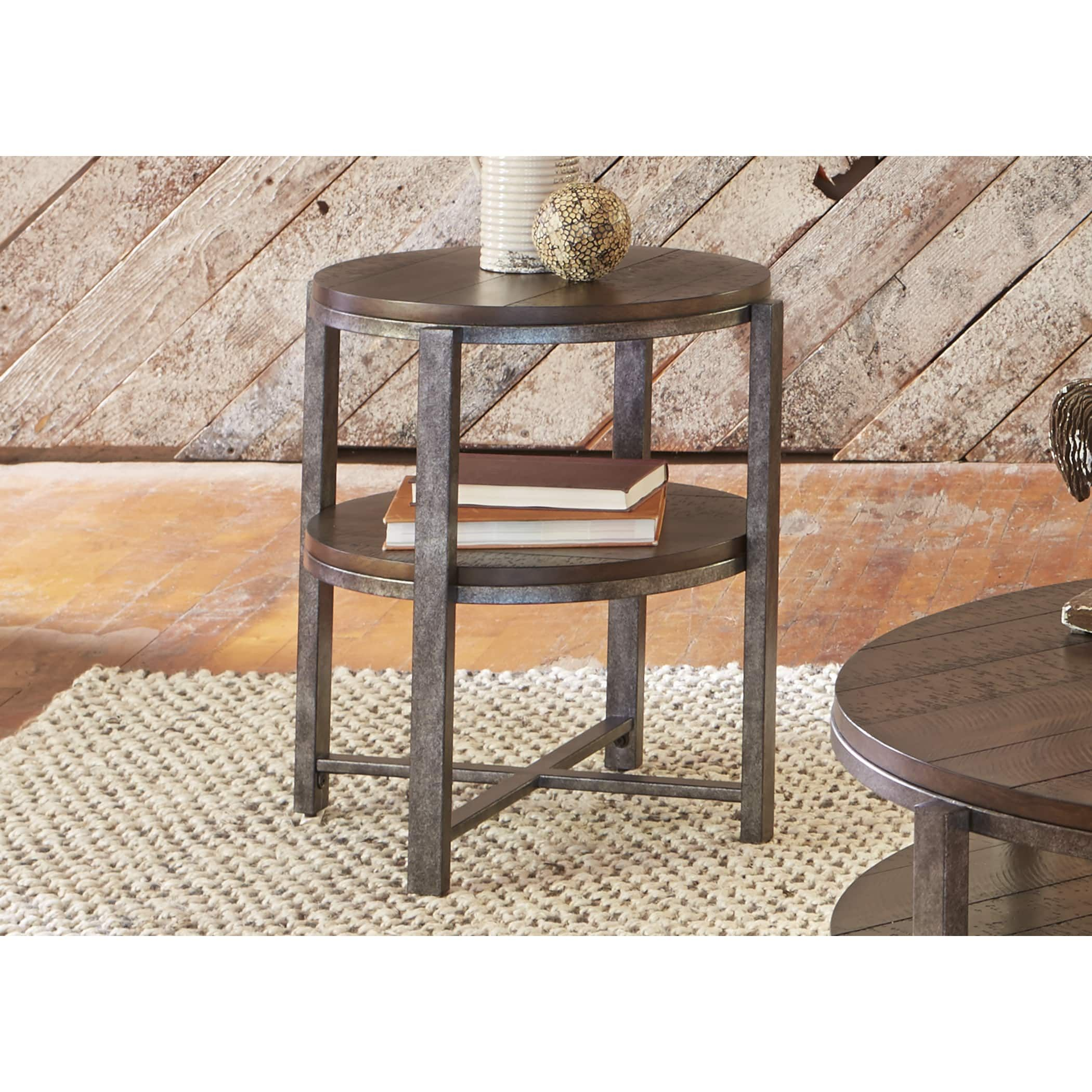 Breckinridge Mahogany Spice And Pewter Round End Table | Overstock.com  Shopping   The Best