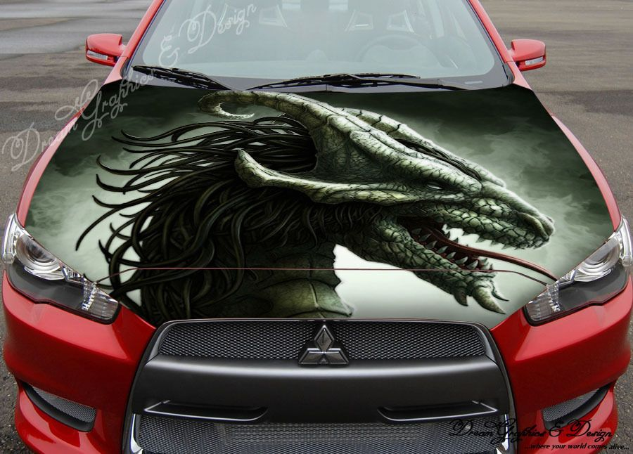 Sticker Decal Full Color Vinyl Hood Fit Any Car Abstract Dragon - Car decals designabstract full color graphics adhesive vinyl sticker fit any car