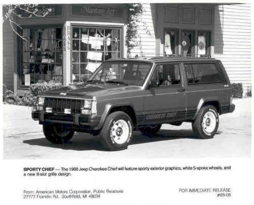 1988 Jeep Cherokee Chief Factory Photograph Ac572 Nvx38t Jeep Cherokee Jeep Jeep Cherokee For Sale