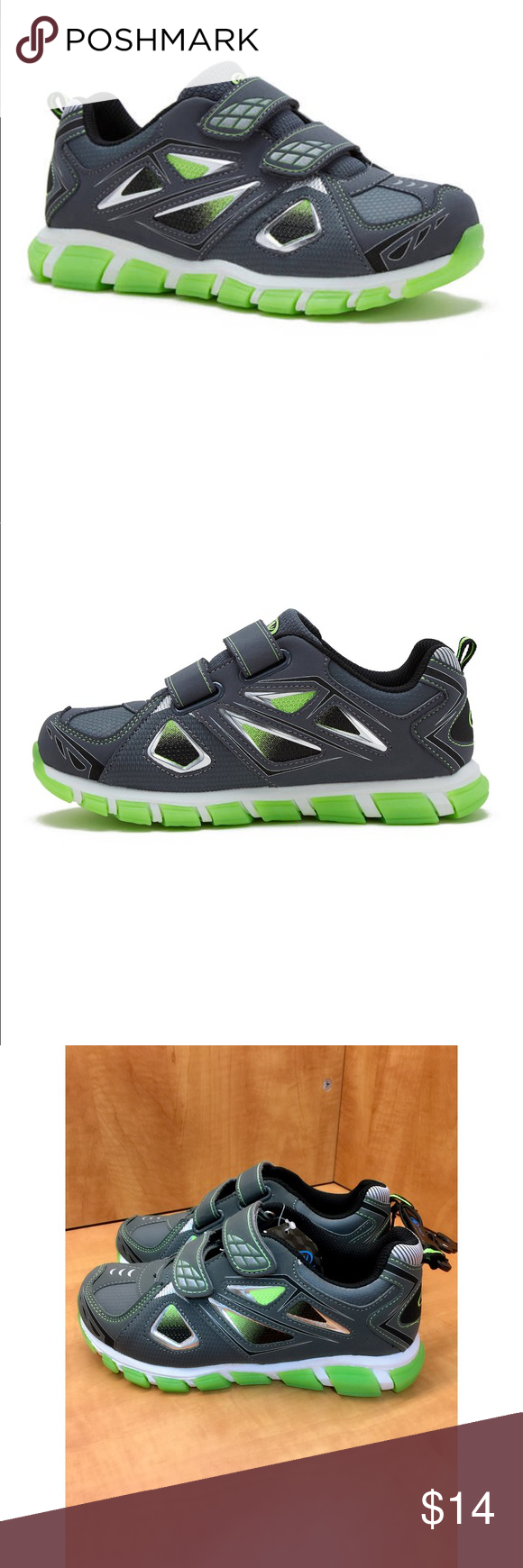 e7cf6aaf6 Two-Strap Grey Athletics Boys Shoe Cute and Comfort Two-Strap Grey Athletics  Boys Shoe new!! Athletic Works Shoes Sneakers