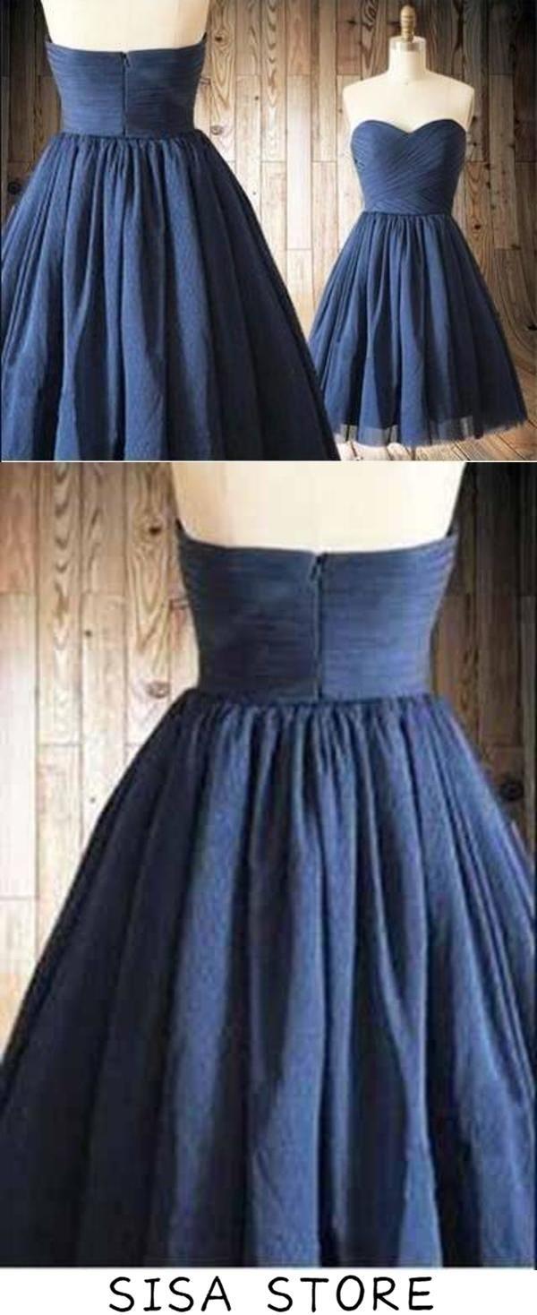 Homecoming Dress Navy Blue Homecoming Dresses Tulle Homecoming Dress Party Dresses #navyblueshortdress
