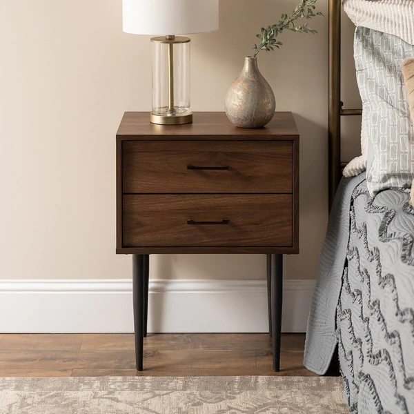 Carson Carrington Notto Modern 2 Drawer Side Table Dark Wood