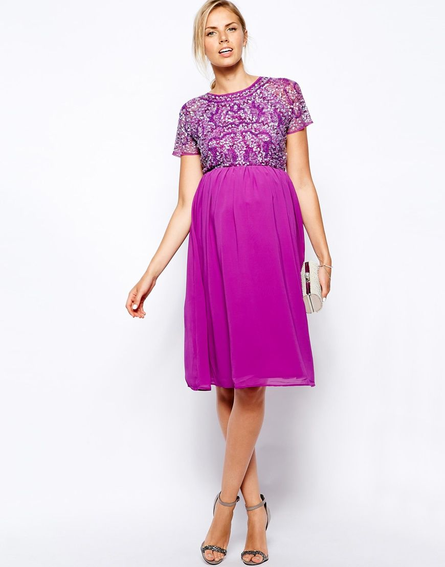 Image 4 of ASOS Maternity Exclusive Embellished Midi Dress | A Whole ...