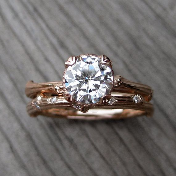 Moissanite Twig Engagement Wedding Ring Set 65mm Solitaire and