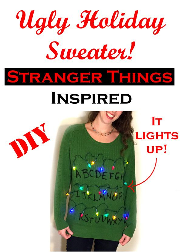 Diy Stranger Things Inspired Ugly Christmas Sweater It Lights Up