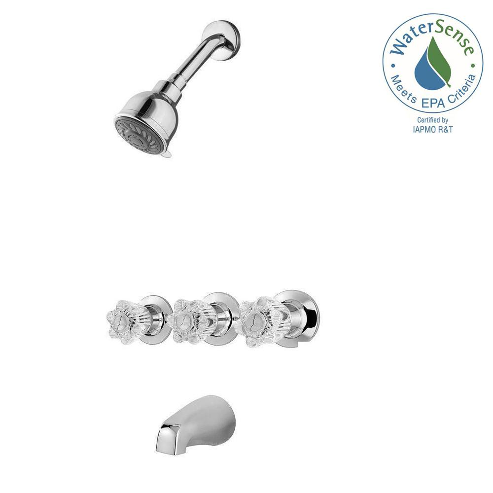 Pfister Bedford 3 Handle 3 Spray Tub And Shower Faucet In Polished