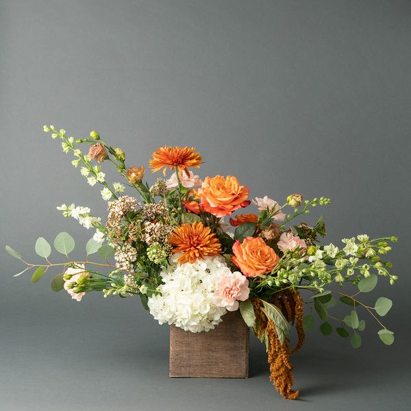 Softer Side Of Fall Pastel Autumn Flower Arrangement In Peaches Pink And Rust N Rust Flower Arrangements Simple Fall Flower Arrangements Flower Arrangements