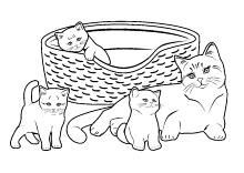 katzenmama mit katzenkinder ausmalbilder katzen katze. Black Bedroom Furniture Sets. Home Design Ideas