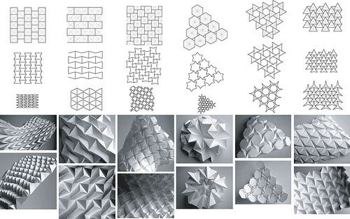Mucha experimentación respecto a tesselations y varios tutoriales sobre el uso de grasshoper para rhino en la visualización de estructuras móviles y transformables