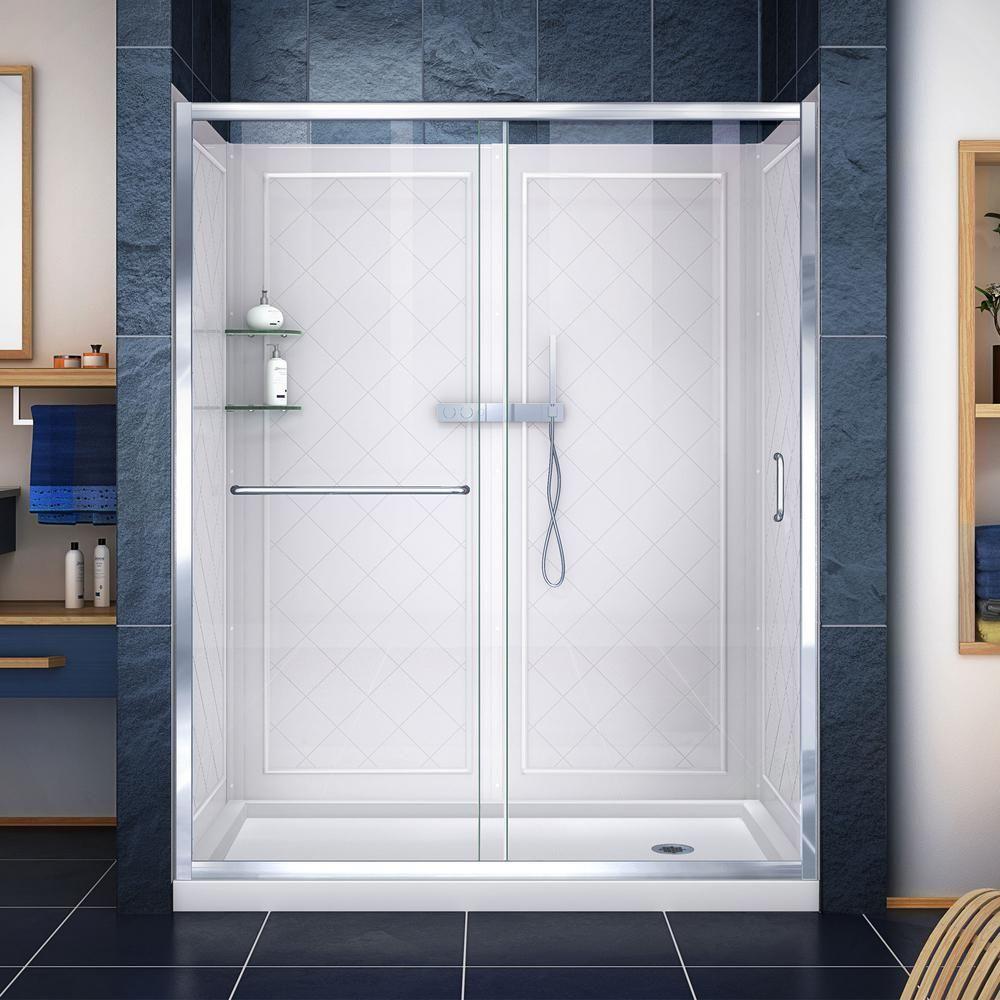 DreamLine Infinity-Z 30 in. x 60 in. Semi-Frameless Sliding Shower Door in Chrome with Center Drain Base and Backwalls, Grey #framelessslidingshowerdoors