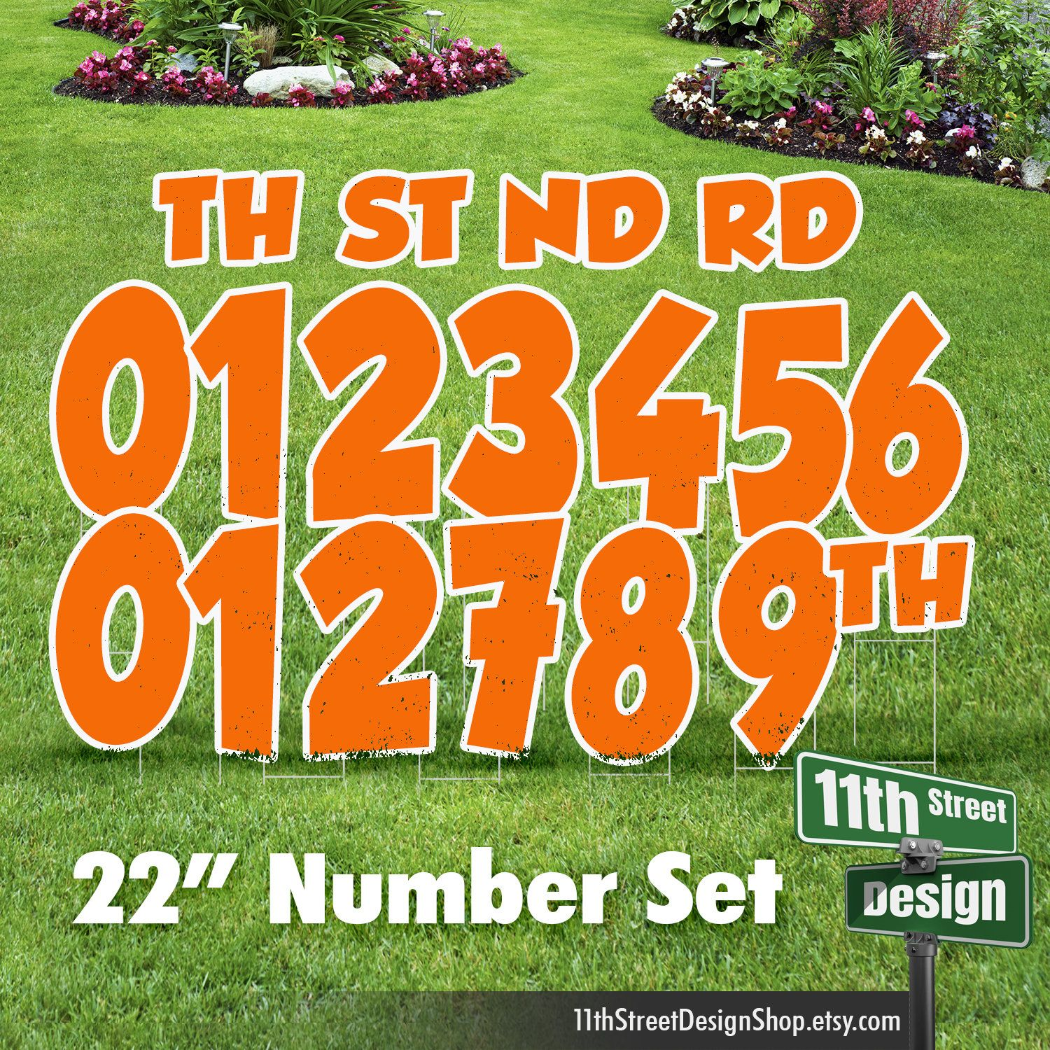 22 Orange Yard Sign Number Set Includes 0 9 Plus St Nd Etsy In 2020 Yard Cards Yard Signs Happy Birthday Yard Signs