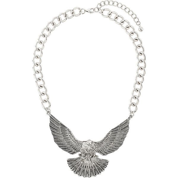 TOPSHOP Chunky Eagle Necklace (460 MXN) ❤ liked on Polyvore featuring jewelry, necklaces, jesy, accessories, topshop, silver, chunky jewelry, topshop necklace, topshop jewelry and chunky necklace