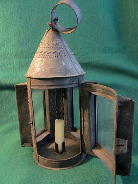 Three Glass Panel Punched Pierced Tin Candle Lantern 1800 S Very Good Condition Candle Lanterns Tin Candles Glass Panels