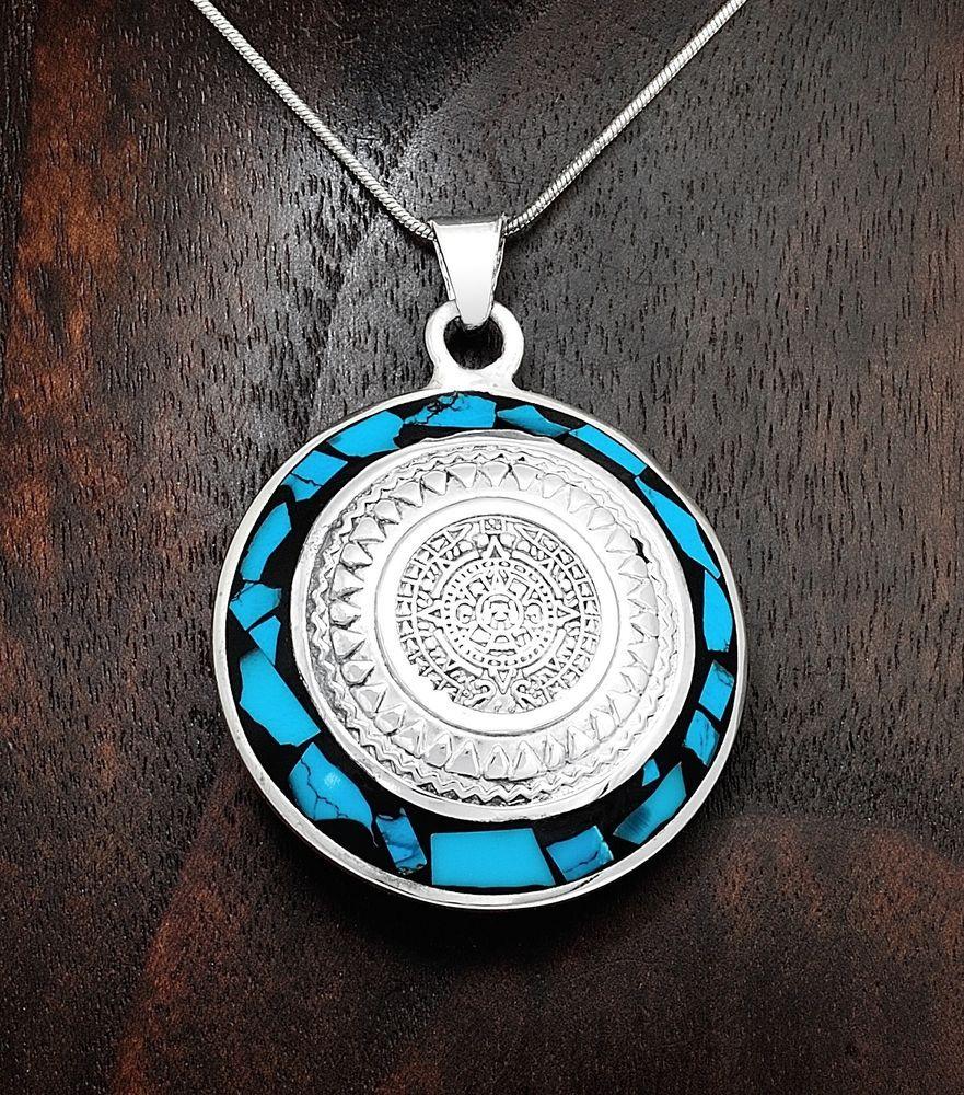Artisan two sided turquoise lapis aztec calendar pendant taxco artisan two sided turquoise lapis aztec calendar pendant taxco mexico aloadofball Images