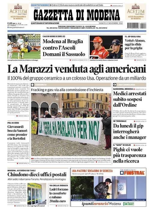 Gazzetta di Modena del 17 novembre 2012
