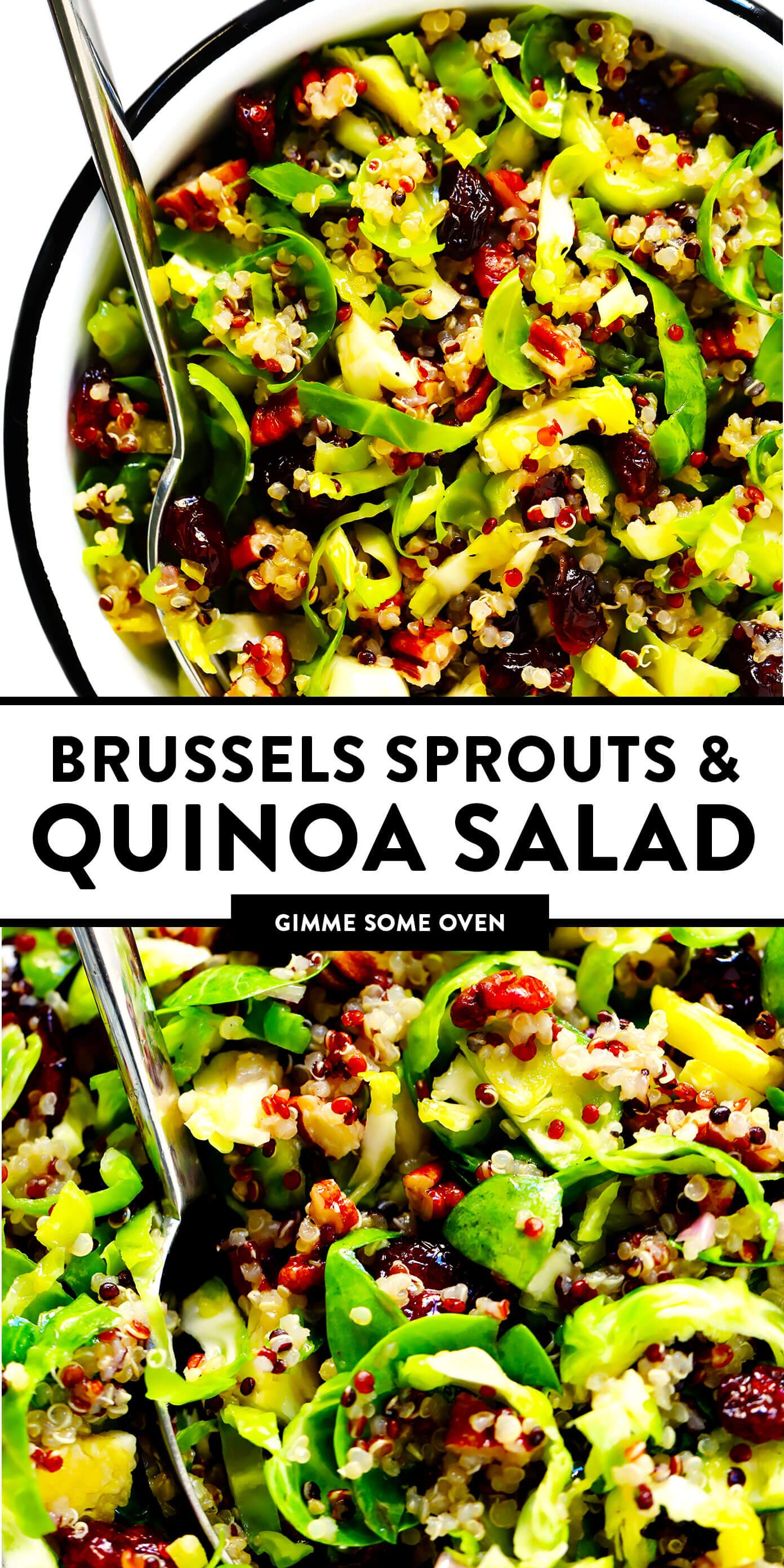 This Brussels Sprouts, Cranberry and Quinoa salad is easy to make, naturally gluten-free and vegan, tossed with a simple orange vinaigrette, and SO delicious! The perfect healthy side dish for holiday entertaining.   gimmesomeoven.com #salad #brussels #healthy #glutenfree #vegetarian #vegan #mealprep #makeahead #thanksgiving #christmas