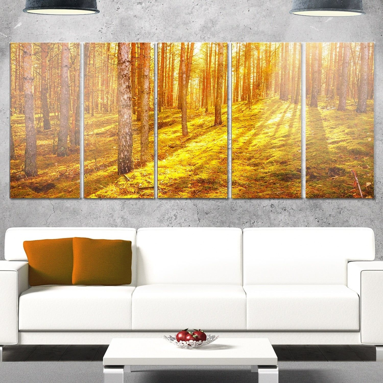 Designart \'Beautiful Sunrays in Thick Forest\' Modern Forest Glossy ...