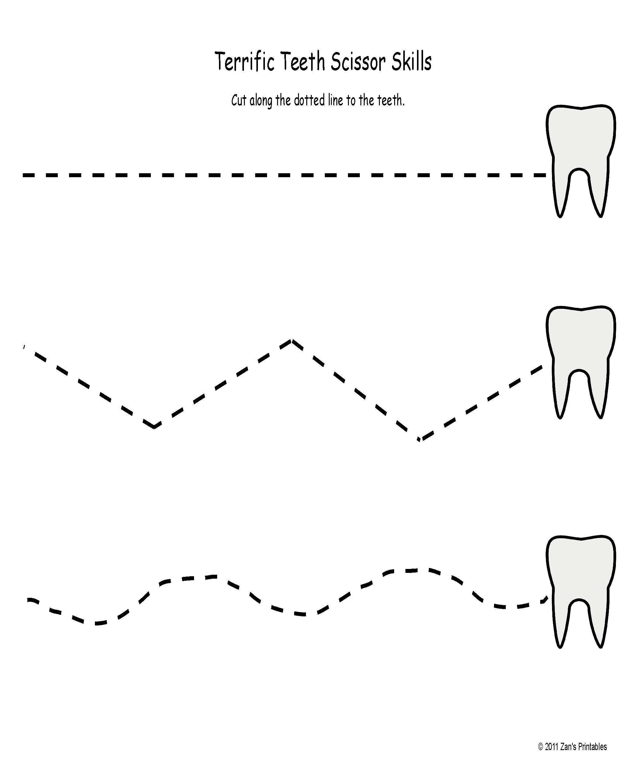 Uncategorized Scissor Skills Worksheets terrific teeth scissor skills and a couple more freebies dental freebies