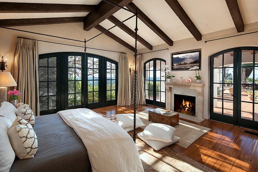 Craftsman Master Bedroom With Stone Fireplace, Hardwood Floors, Home  Decorators Collection, Marvin Arched