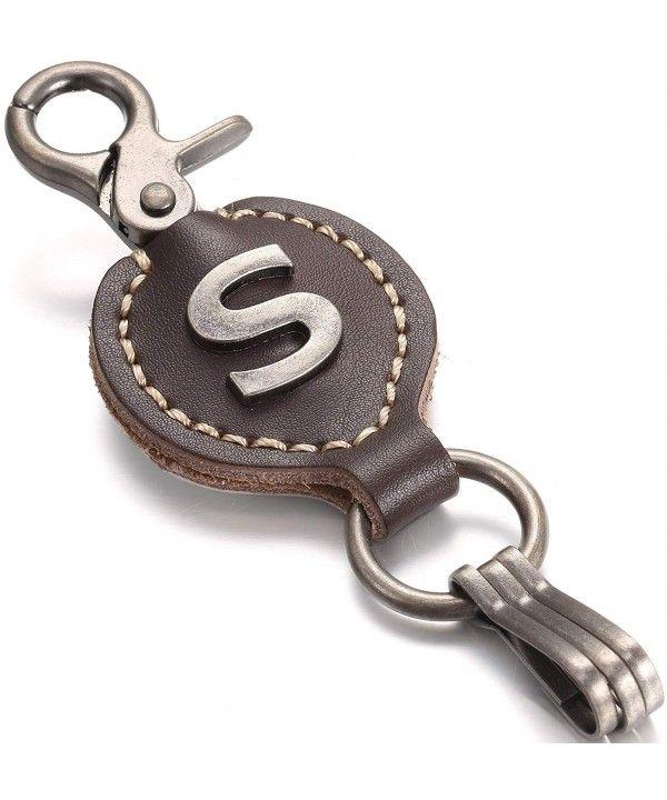 Brown Leather Alphabet Keychain- Single Letter with Easy Clasp Key - S -  CU12MYLH15U 5cd09c02c