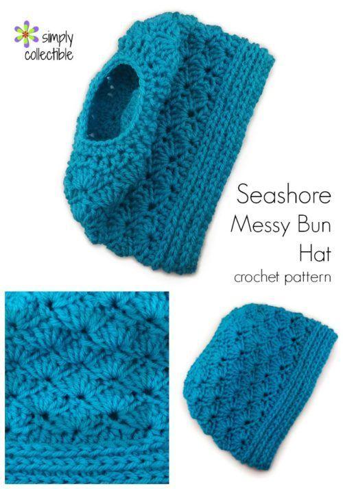 Seashore Messy Bun Hat | yarn | Pinterest | Gorros, Tejido y Ganchillo