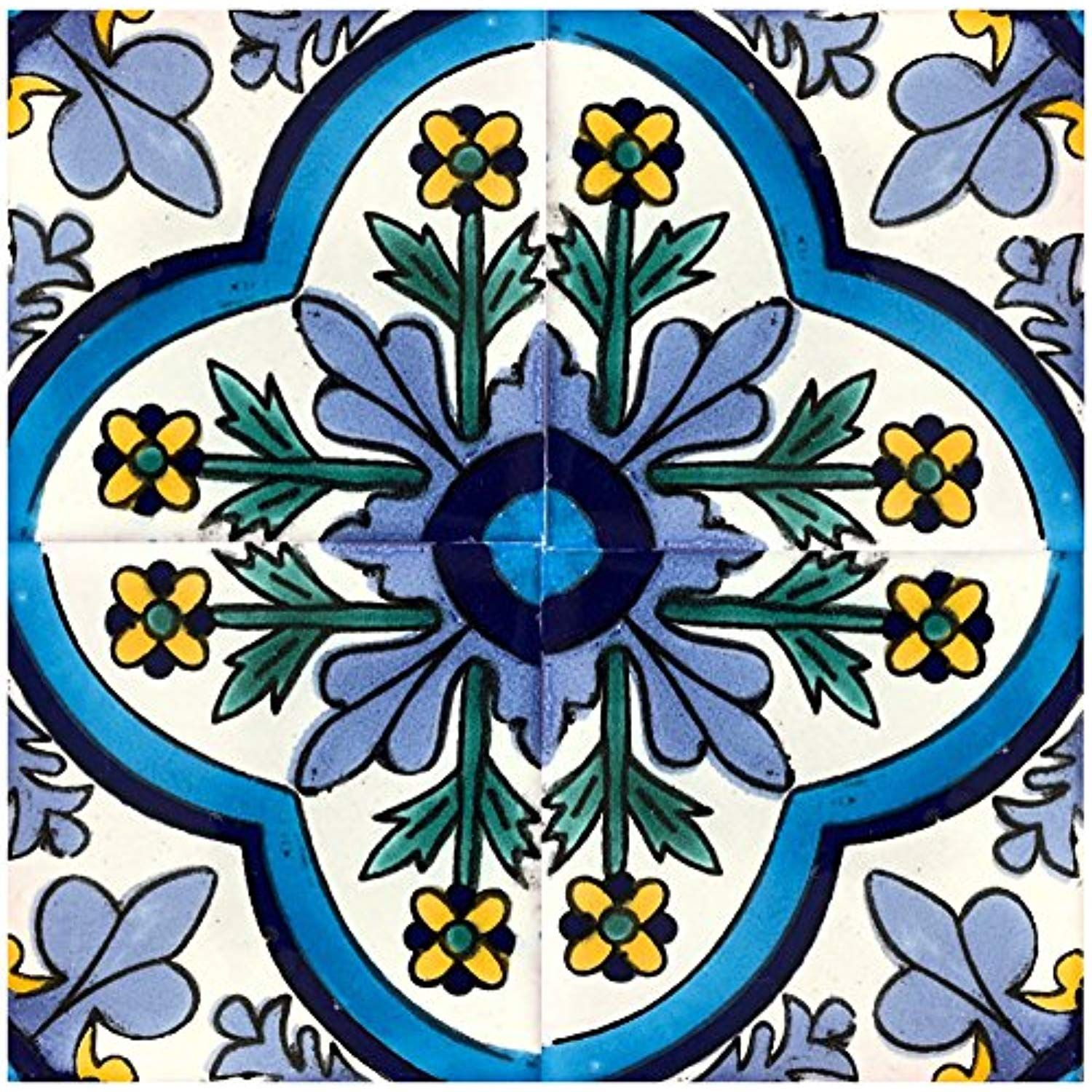 6x6 Inch Green Blue Navy Blue Off White Yellow Rustico Tile and Stone TR6DOLORES Dolores Talavera Tile Box of 45
