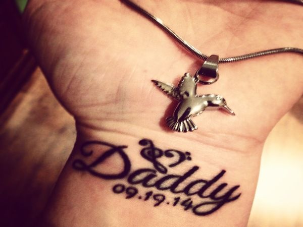 Memorial Wrist Daddy Tattoo with Date