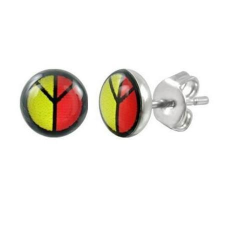 Stainless Steel Peace Sign Stud Earrings