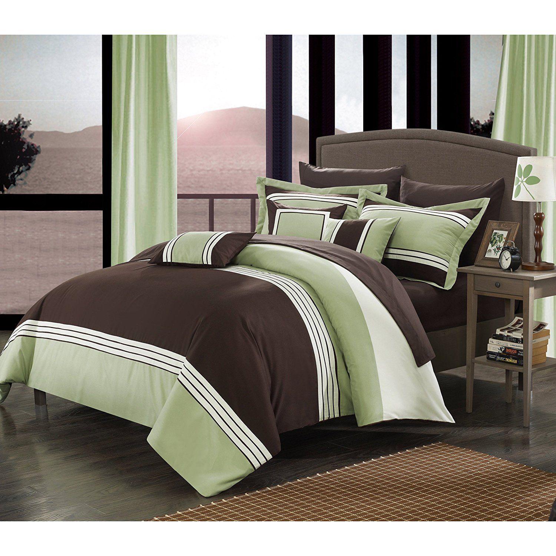 Seafoam Green White Dark Brown Horizontal Stripe Themed forter