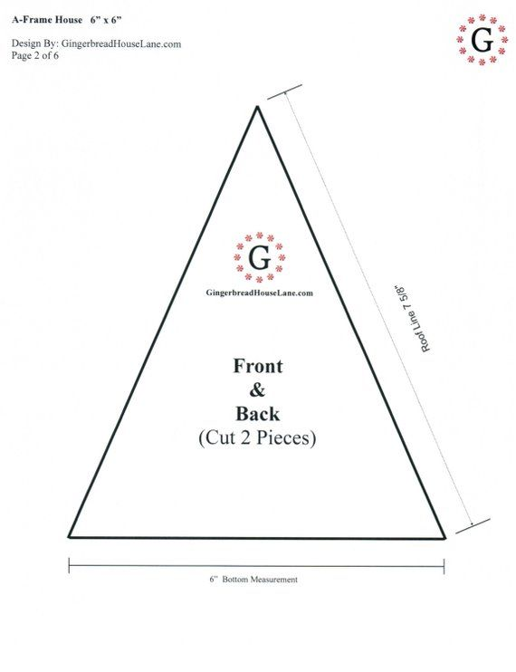 "triangle gingerbread house template  A-Frame Gingerbread House Template 5""x5"" 