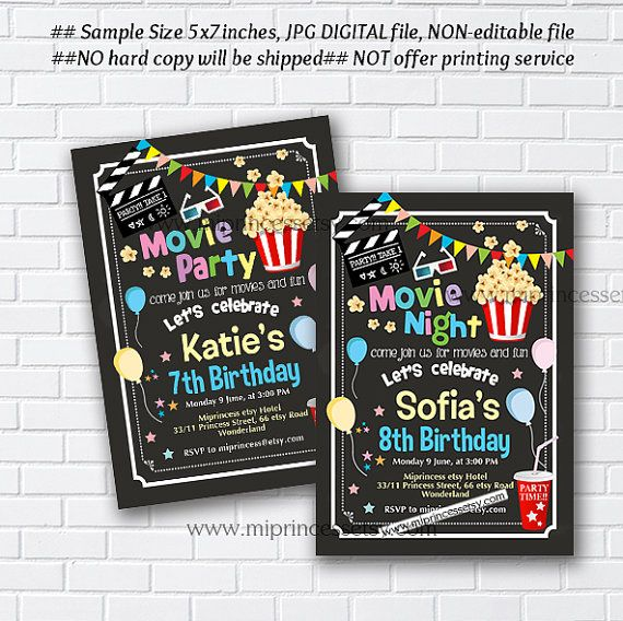 Movie party invitation movie night birthday invitation chalkboard movie party invitation movie night birthday by miprincess on etsy filmwisefo