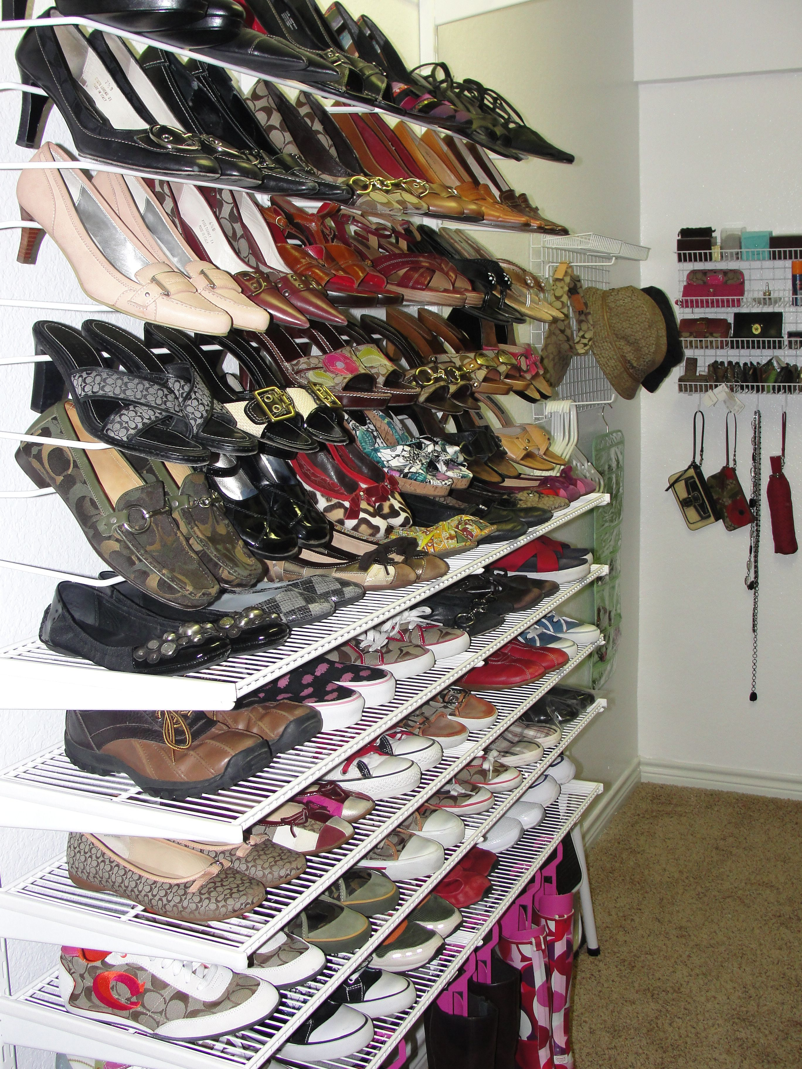 Combination of angled shoe shelves and ventilated flat shelves & Combination of angled shoe shelves and ventilated flat shelves ...