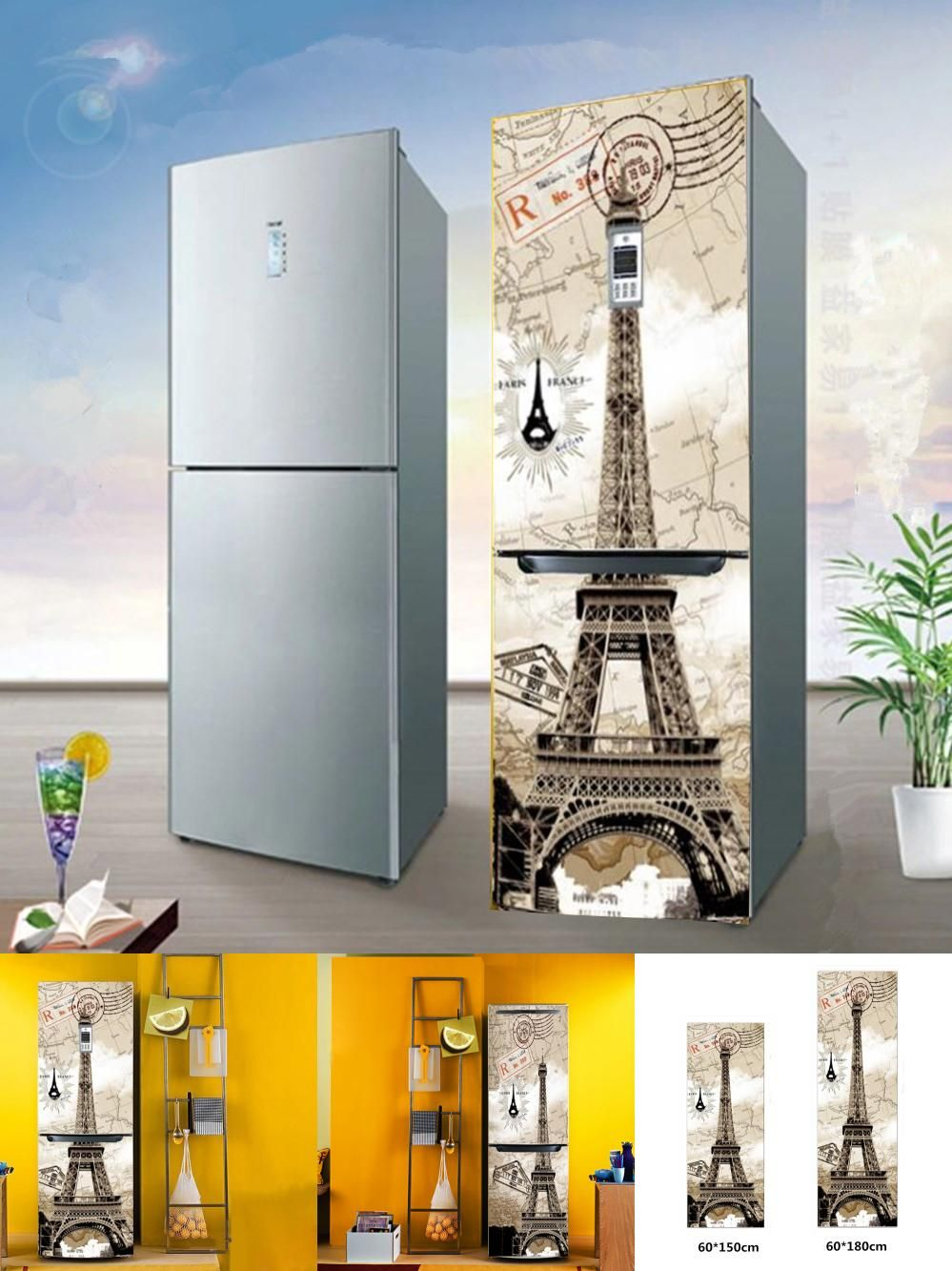 visit to buy] yazi hd print eiffel tower pvc diy refrigerator door