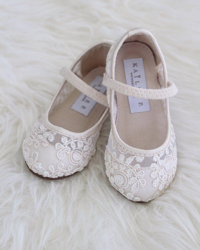 22cc84de1 IVORY Crochet Lace Maryjane Flats in 2019 | Littles Wedding | Flower ...