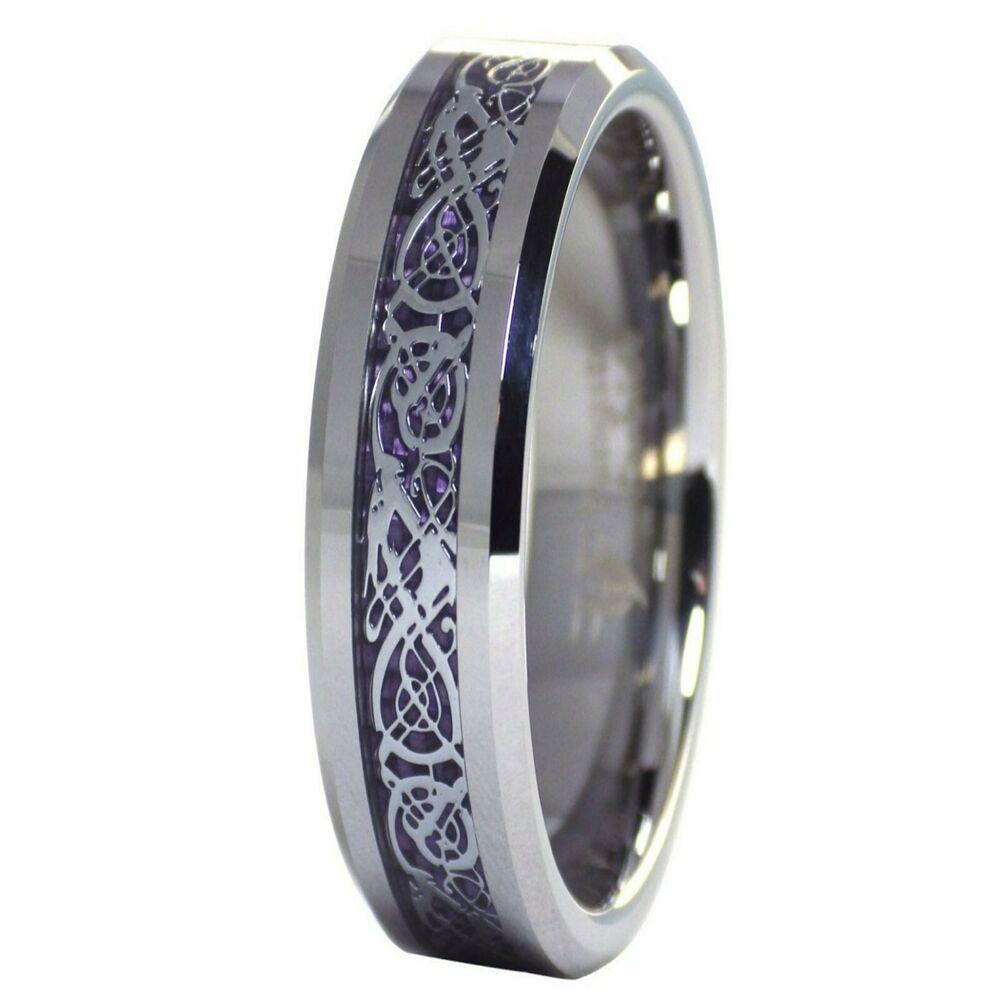 Celtic Dragon Royal Purple 6mm Tungsten Ring Womens Mens Wedding Band Size 6 9 5 Fantasyforgej Celtic Rings Women Mens Wedding Band Sizes Celtic Wedding Rings