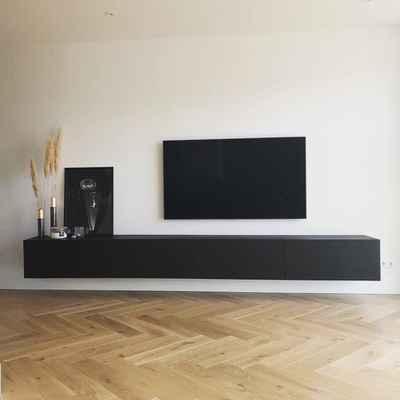 Tv Kast Zwart Hout.Zwart Hangend Tv Meubel Eikenhout Tv Meubel Zwevend Zwevend