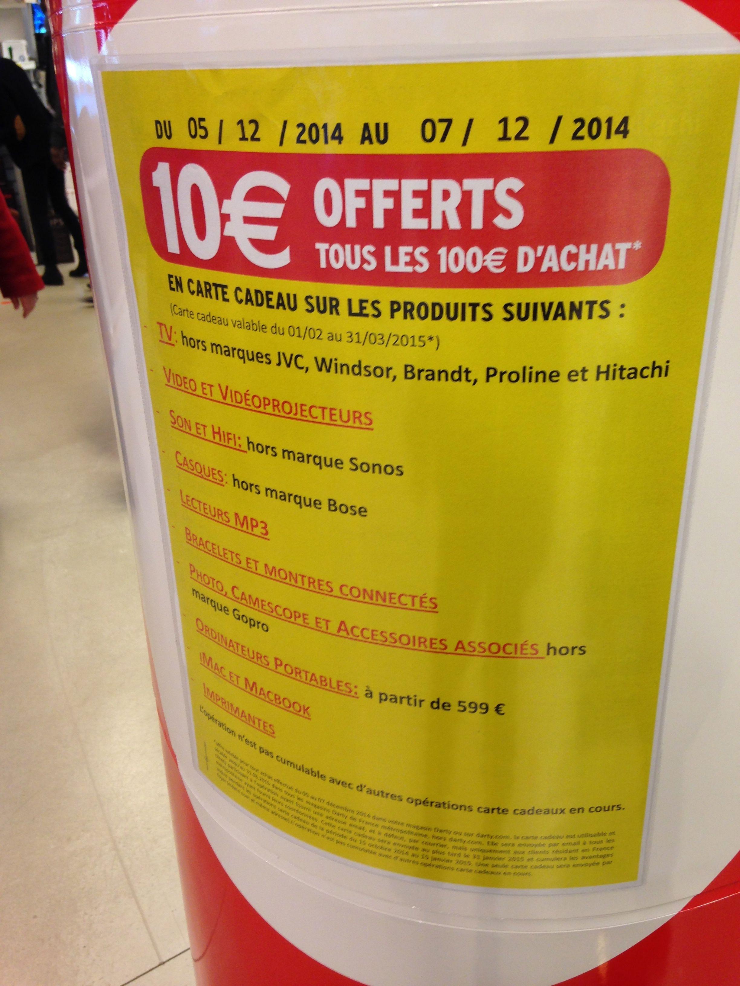Darty Beaugrenelle Paris15 Produits Carte Carte Cadeau