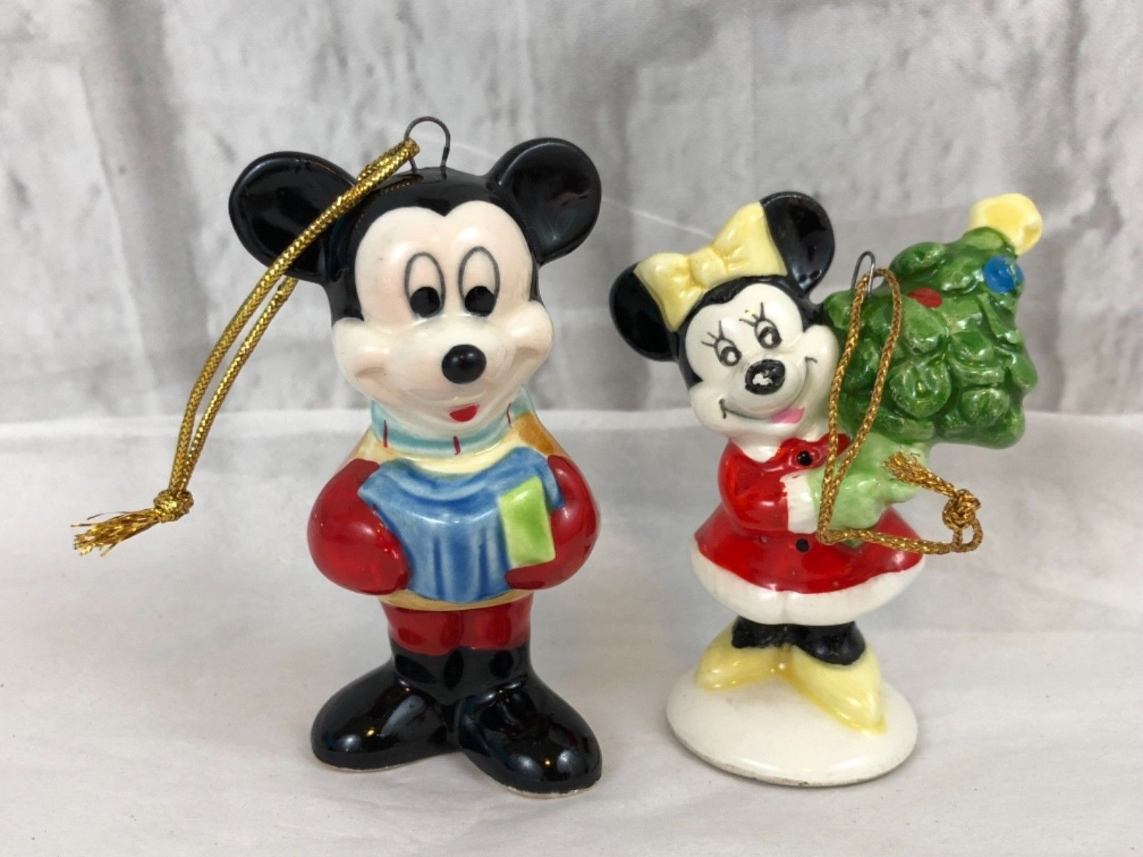 Vintage Schmid Mickey Mouse And Minnie Mouse Ceramic Christmas Ornaments Christmas Ornaments Christmas Decorations Ornaments Ornament Decor