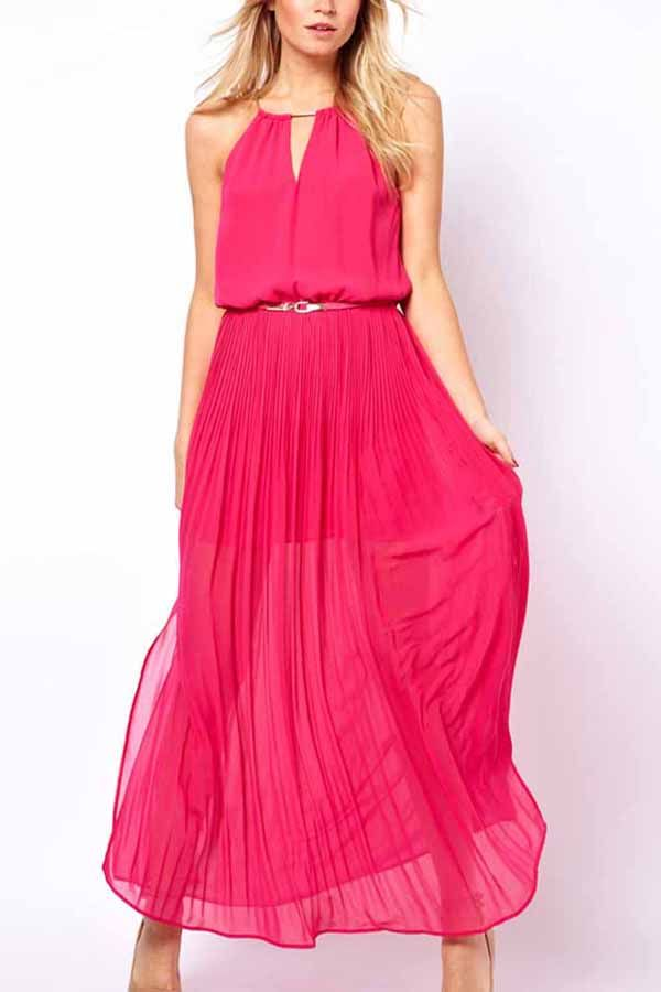 71c71441753d Fuchsia+V+Cut+Side+Slit+Pleated+Chiffon+Maxi+Dress+#Fuchsia+#Dress+#maykool