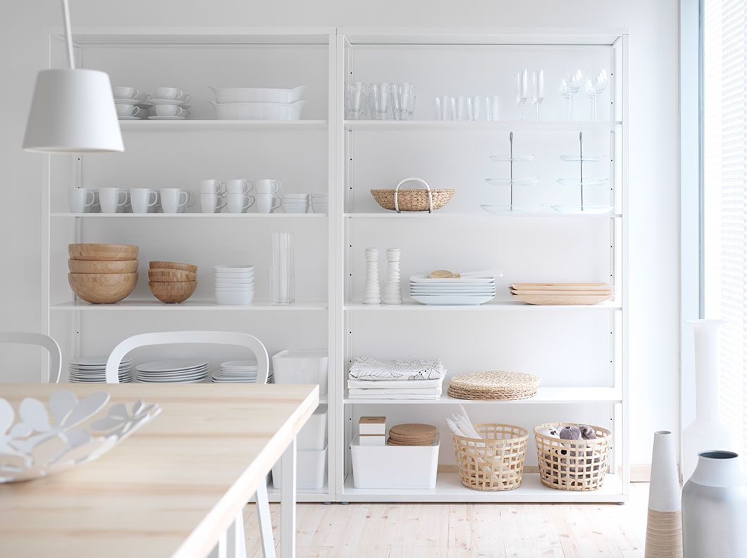 Kitchen shelving units  FJÄLKINGE fehér acél polcos elem állítható polcokkal  homeheart