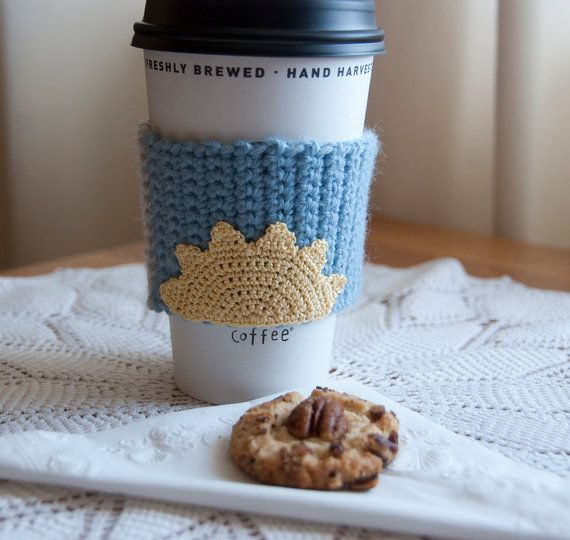Hand crocheted coffee cosy cozy morning sunshine by TableTopJewels, $14.00
