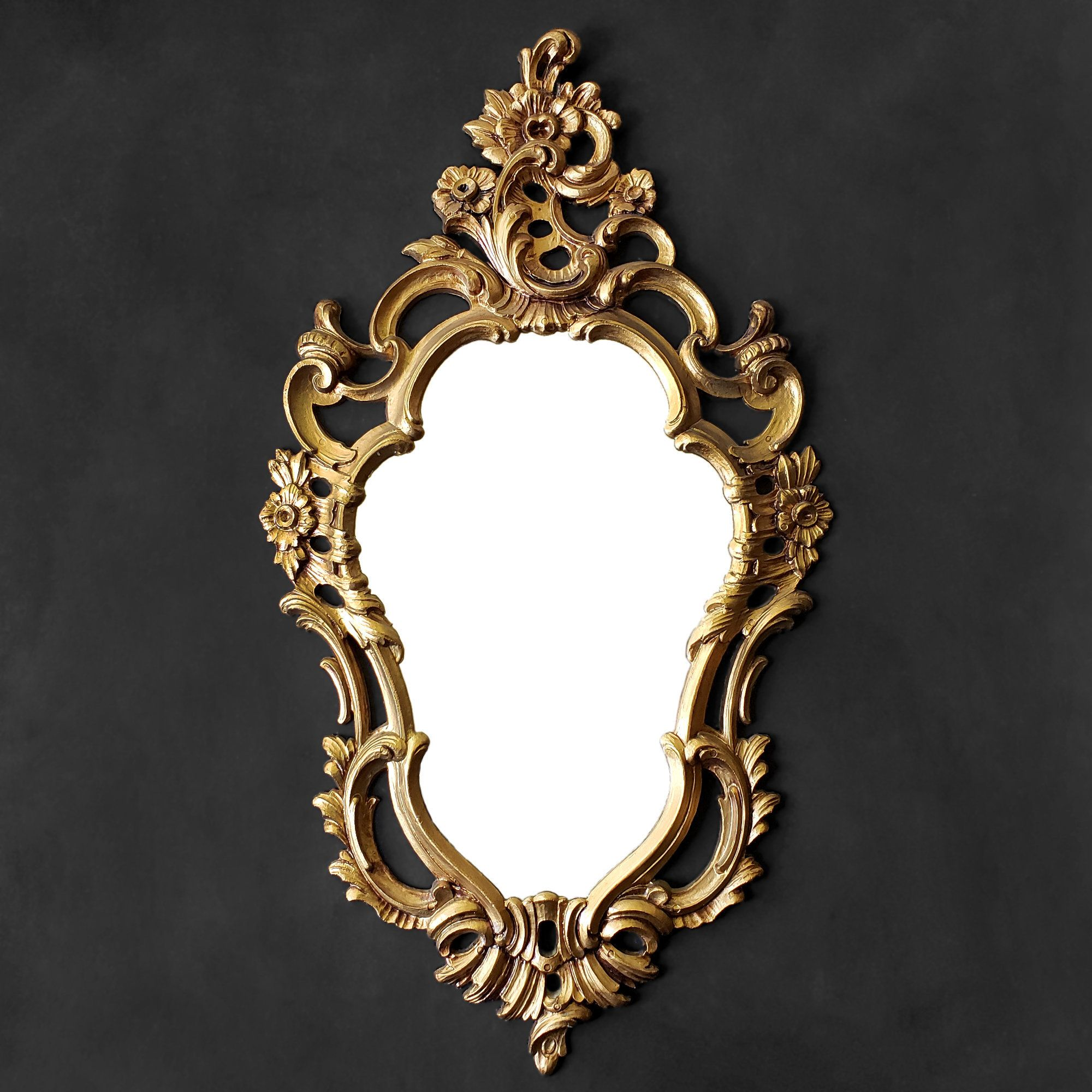 Gold Accent Mirror Small Ornate Floral Mirror Vintage In 2020