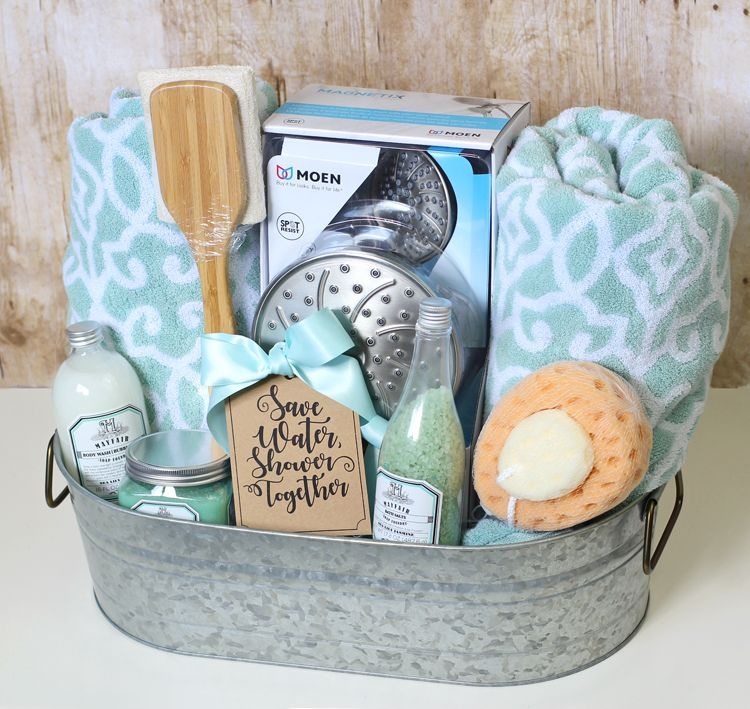 Shower themed diy wedding gift basket idea free printable gift gift basket idea has a shower theme and includes a luxurious shower head bath towels and other fun bath products and has a free printable gift tag negle Image collections