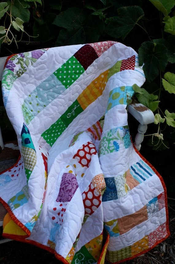 Modern Baby QuiltHappy Days by whimsiedots on Etsy