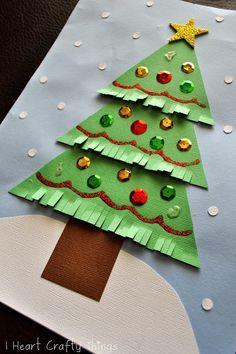 Kids Christmas Tree Craft | Bricolage noel, Cartes de noël pour