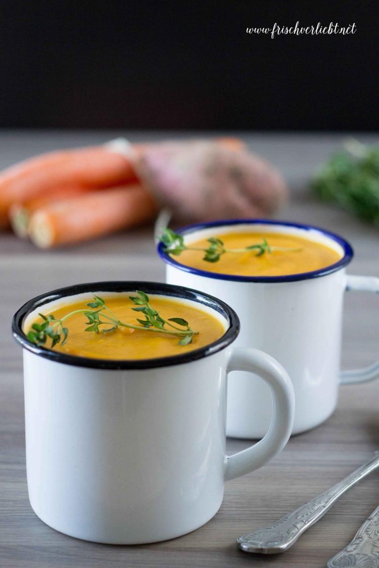 Süßkartoffel-Karotten-Suppe mit Kokosmilch und Ingwer - Frisch Verliebt - mein Blog für Food und Lifestyle