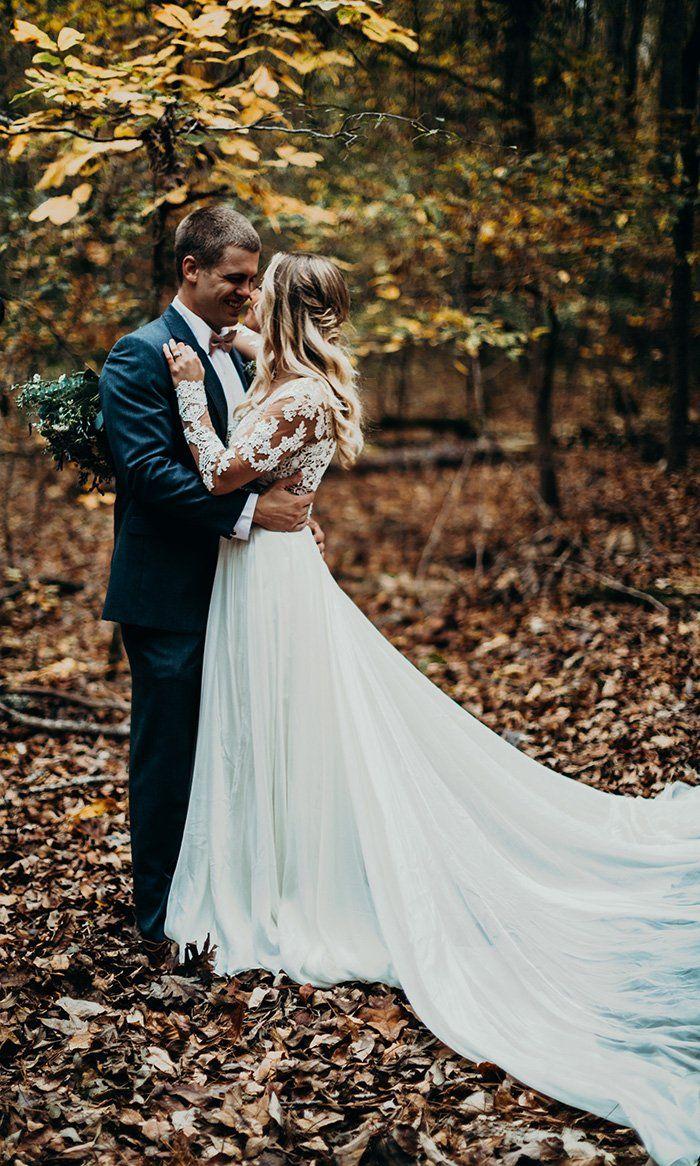 Woodland wedding dress  Winter Woodland Wedding with a Boho Bridal Gown